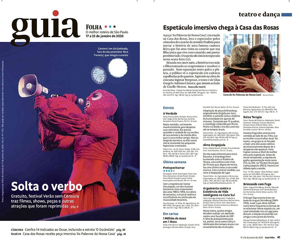 As Palavras da Nossa Casa - Teatro Imersivo - Guia da Folha - Folha de S. Paulo
