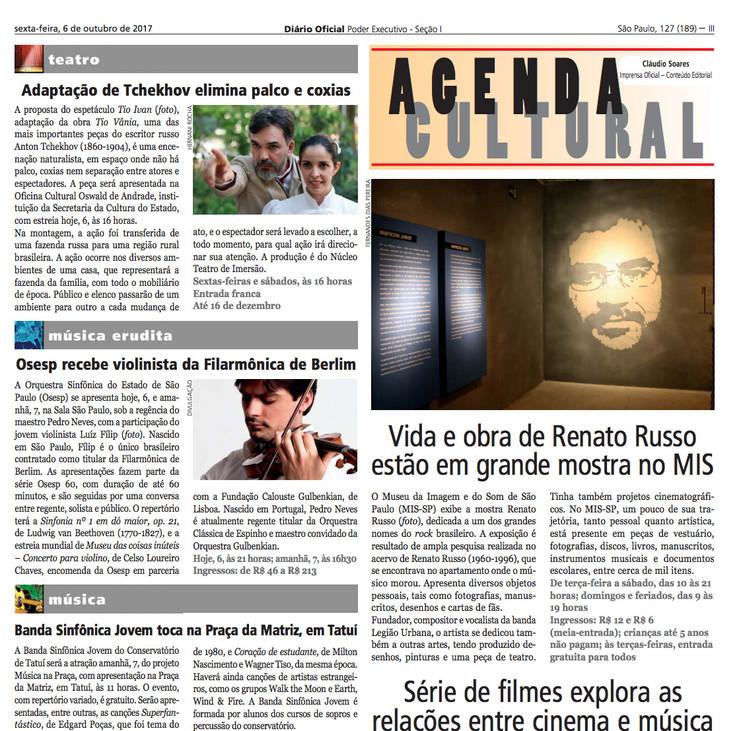 AGENDA CULTURAL - DIÁRIO OFICIAL