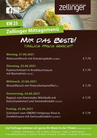 Der wöchentliche MENÜPLAN KW25