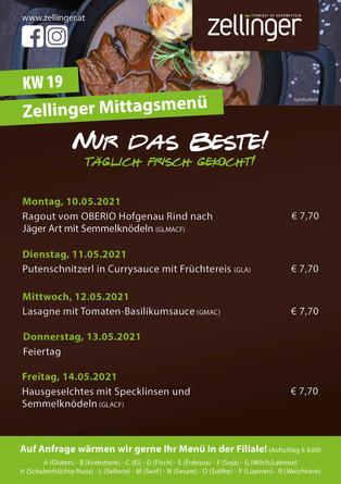 Der wöchentliche MENÜPLAN KW19