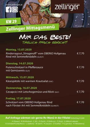 Der wöchentliche MENÜPLAN KW29
