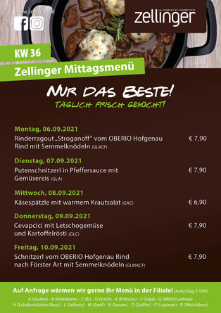 Der wöchentliche MENÜPLAN KW36