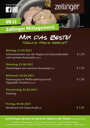 Der wöchentliche MENÜPLAN KW22