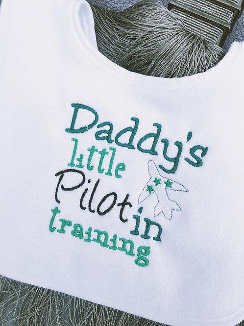 Daddy's little pilot in training bib