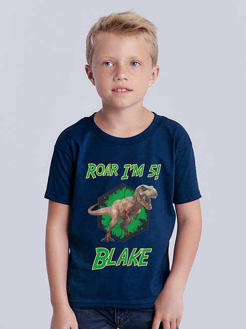 Personalised T-Rex Birthday T-Shirt,