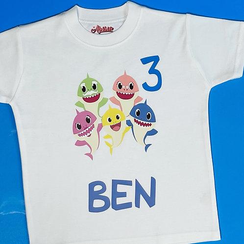 Personalised Baby Shark Birthday T-Shirt