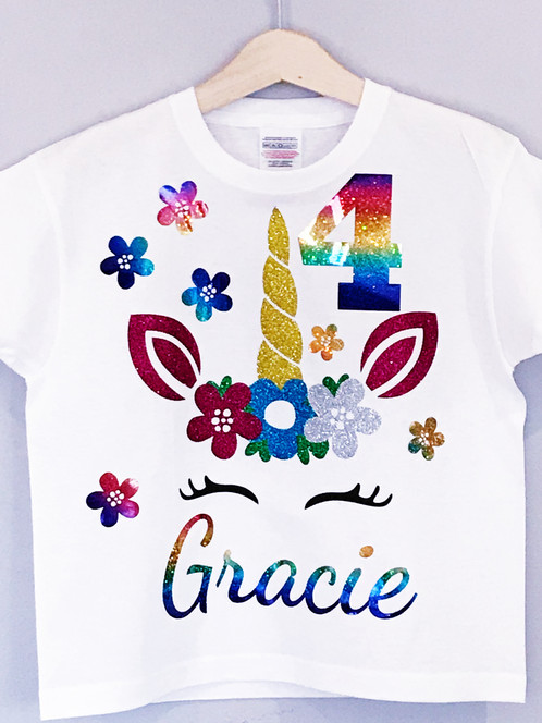 This Personalised Unicorn Birthday T Shirt Is The Perfect Top For Your Little One On Her And Would Make A Lovely Gift Too