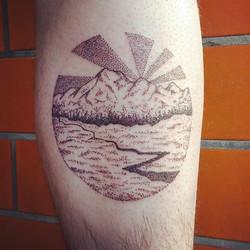 Little #landscapetattoo for Erik! Thank you! #dotwork #tattoo