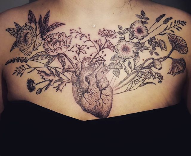 finished Katinas _wild_flower_heart tattoo today