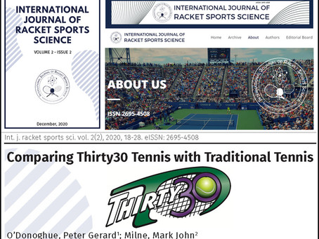 """Peter O'Donoghue (Cardiff University) - Paper – """"Comparing Thirty30 Tennis with Traditional Tennis"""""""