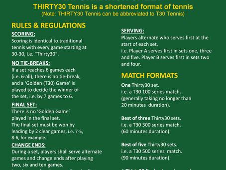 Download Thirty30 Tennis Information Sheet PDF Version