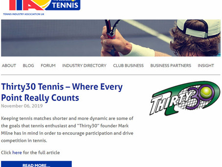 Tennis Industry Association UK Blog Page: Thirty30 Tennis - Where Every Point Really Counts