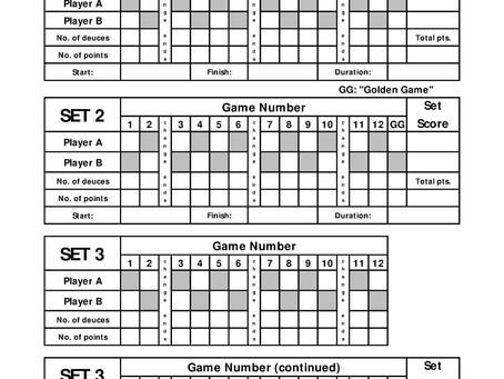 Best of 3 Sets Thirty30 Tennis Scoresheet
