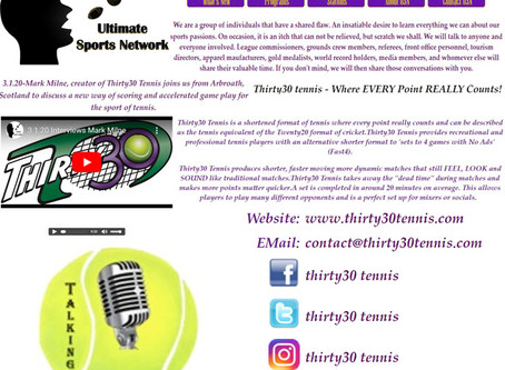 T30 Blog: Ultimate Sports Network (USN) host Frank Gordon discusses Thirty30 tennis with Mark Milne