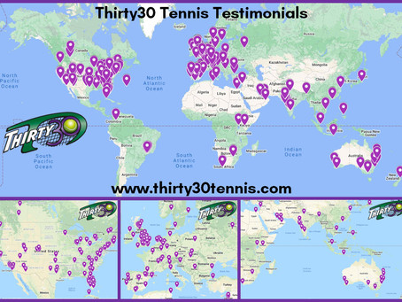 300 Testimonials received from all around the World for the shorter faster-paced Thirty30 Tennis!