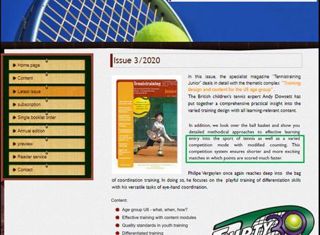 "German Tennistraining Junior Magazine Article ""Thirty30 Tennis - the new (shorter) scoring format"""