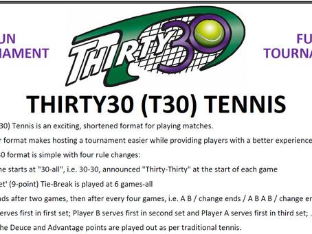 T30 Blog: An Invitation to organise a 'Thirty30 Tennis Fun Tournament'