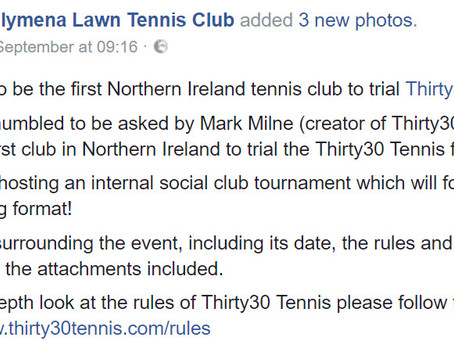 Ballymena LTC be the first club in Northern Ireland to trial Thirty30 Tennis
