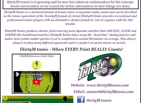 T30 Blog: Ultimate Sports Network host Frank Gordon revisits Thirty30 tennis' Mark Milne