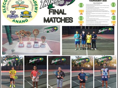 Elecon Tennis Academy (Gujarat, India) -Thirty30 Round Robin Tournament 2020 - List of Winners