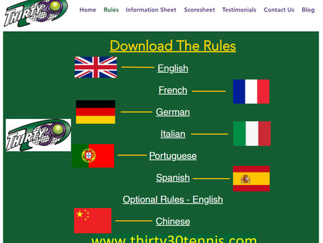 Thirty30 (T30) Tennis Rules: Translated into French, German, Italian, Portuguese, Spanish & Chinese