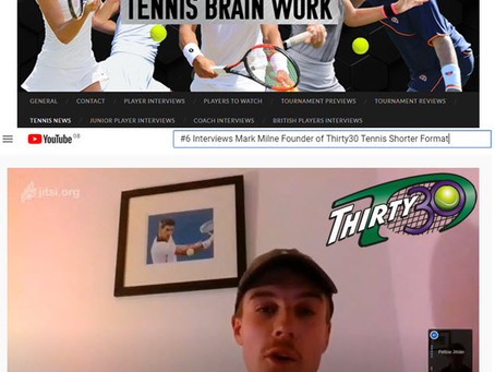 """Thirty30 Tennis Blog - Dan Rodenby Interview - Mark Milne """"The benefits of a shorter format & more!"""""""