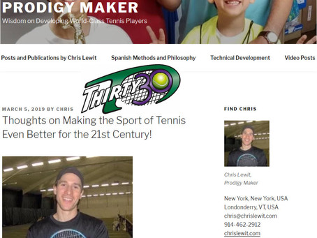T30 Blog: Chris Lewit - Thoughts on Making the Sport of Tennis Even Better for the 21st Century!
