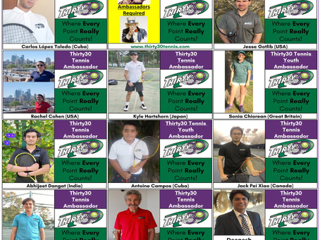 Introducing the Ambassadors for the shorter scoring format Thirty30 Tennis from all over the World