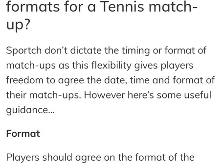 Thirty30 (T30) tennis shorter faster paced scoring format used for Sportch Ladder Competitions