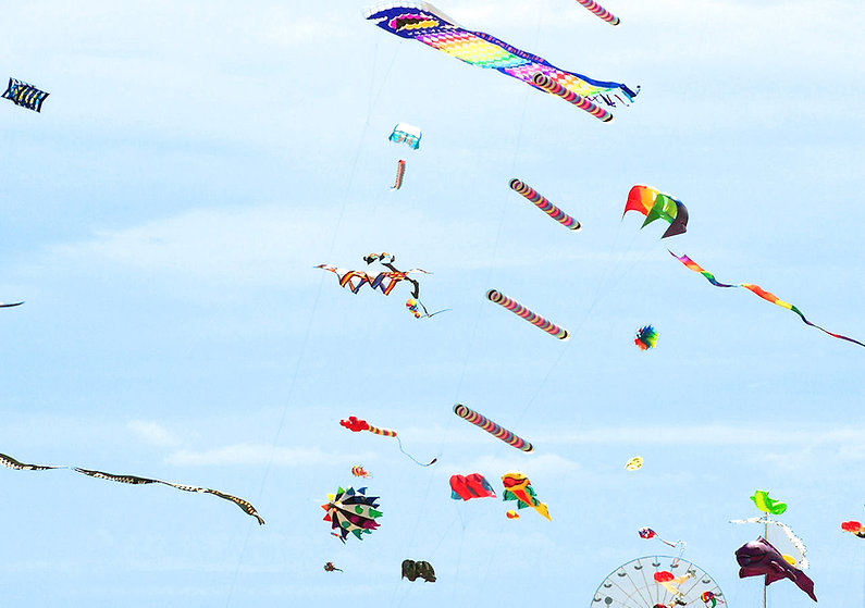 Ciel remli de cerf-volants