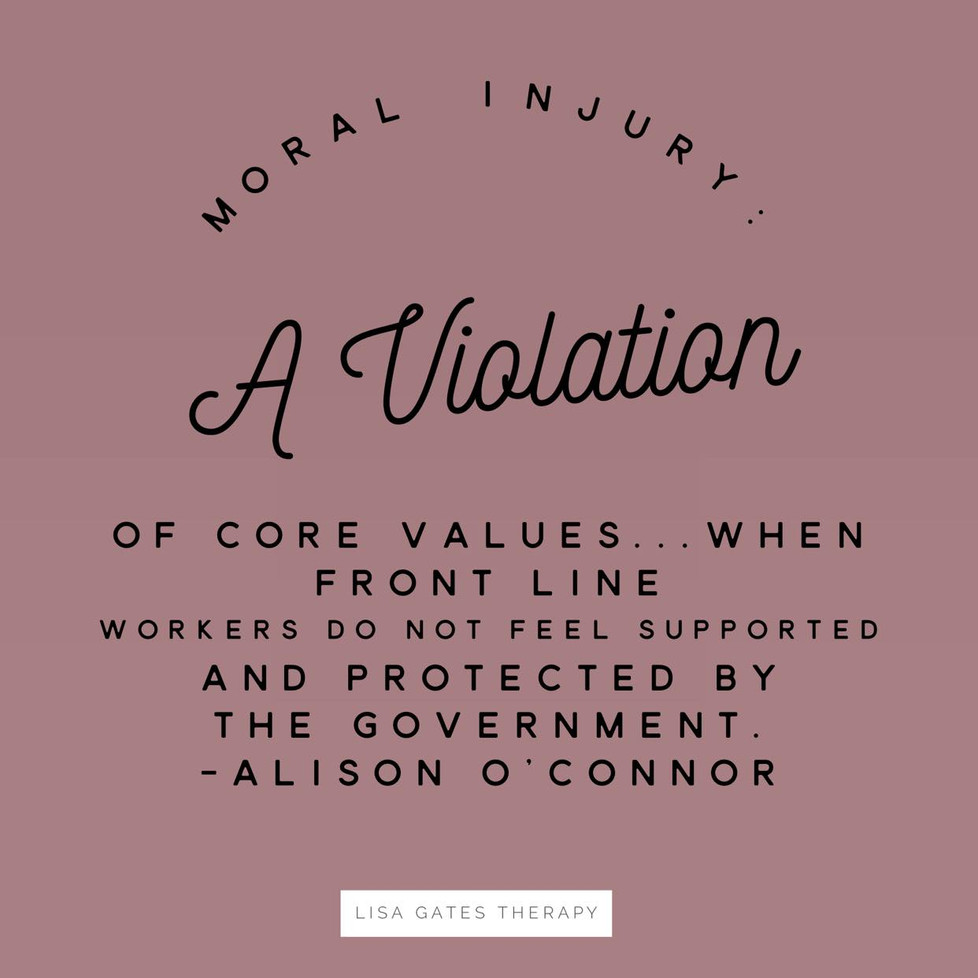 Moral injury in front line workers