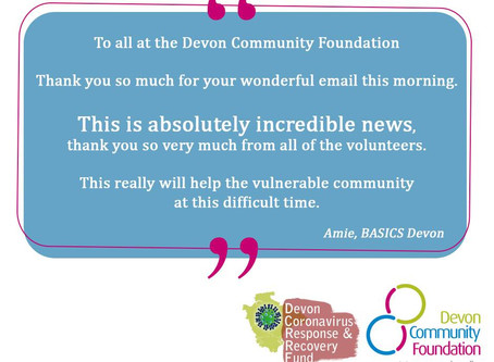 BASICS Devon Volunteers thank the Devon Community Foundation for emergency funding