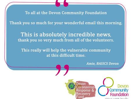 BASICS Devon Volunteers thank the Devon Community Foundation for emergency funding