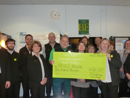 Waitrose & Partners in Holsworthy Support BASICS Devon