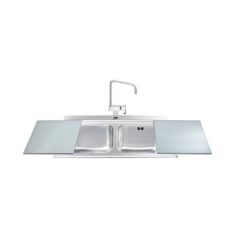 Evier Encastrable 2 Cuves 90 Cm Inox 2 Planches Coulissantes