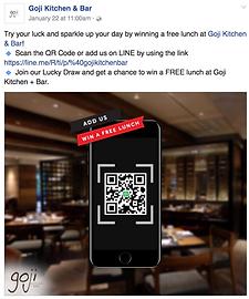 Goji restaurant bangkok Facebook marketing