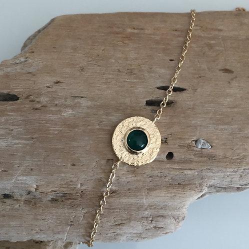 Bracelet rond pierre verte