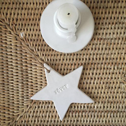 "Etoile céramique blanche ""rêver"" taille 3"