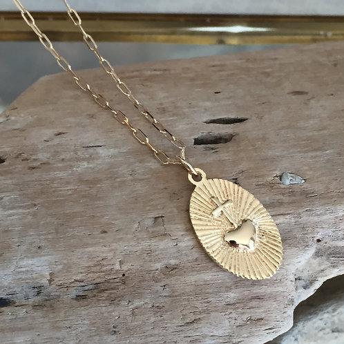 Collier pendentif coeur et croix