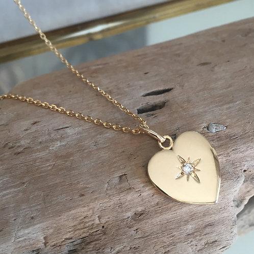 Collier pendentif coeur étoile du nord