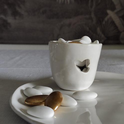 Timbale/Photophore en céramique colombe blanche