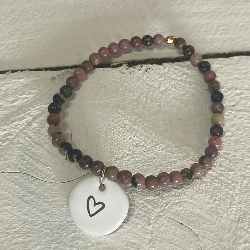 Bracelet Rhodonite et breloque coeur