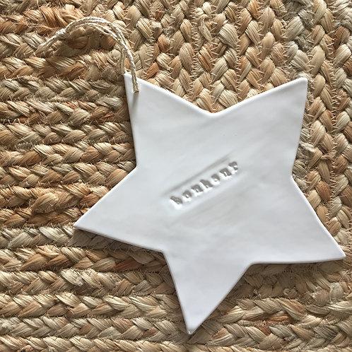 """Grande étoile céramique blanche """"Bonheur"""""""