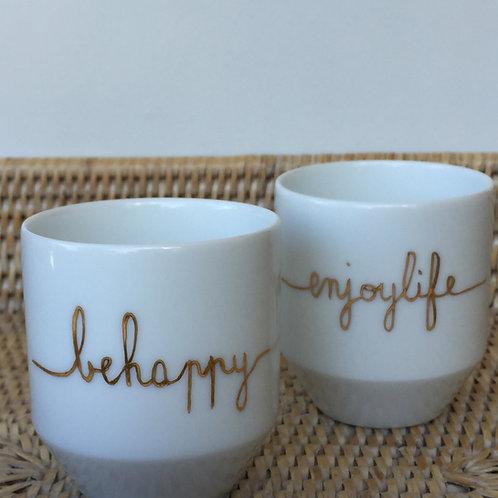 """Duo de tasses à café """"behappy"""" et """"enjoylife"""""""