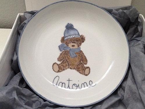 """Assiette bébé ourson """" Antoine"""""""
