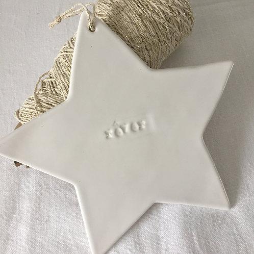 """Grande étoile céramique blanche  """"rêver"""""""