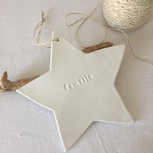 """Grande étoile céramique blanche """"Famille"""""""