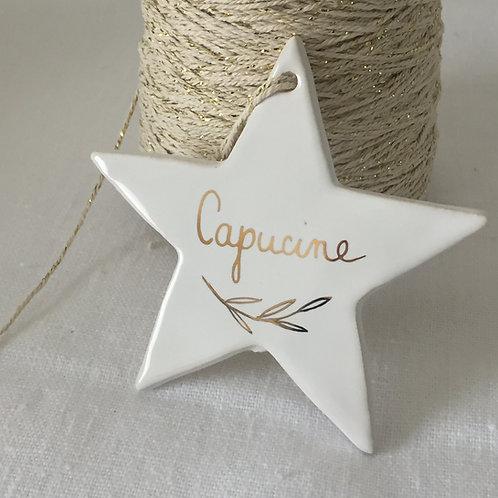 étoile céramique blanche à personnaliser or taille 3