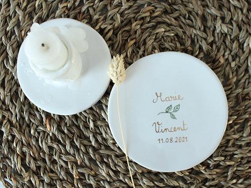 Coupelle céramique feuilles/prénoms/date