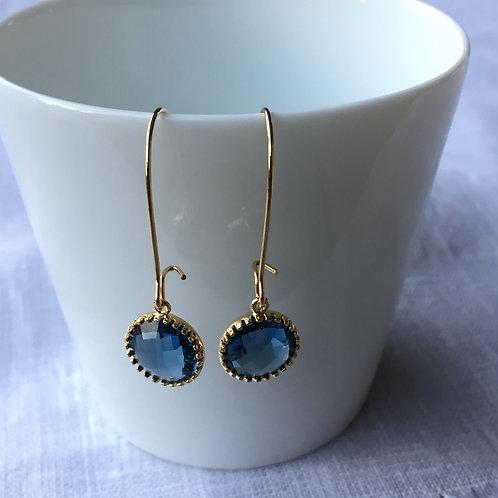 """Boucles d'oreilles Capucine"""" bleu marine"""""""